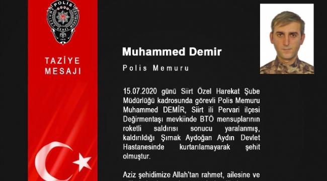 Şehit Polislerimize Taziye Mesajı